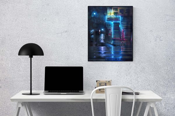 Poster_Blue_Lights_in_a_Rainy_Night