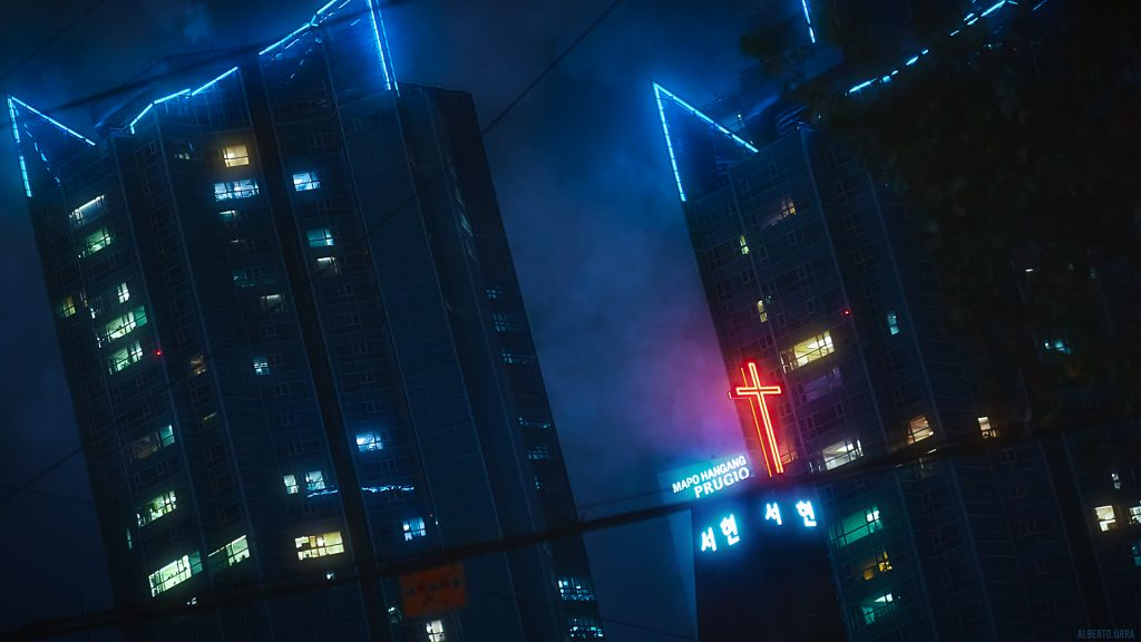 Alberto_Urra_Desktop_Wallpaper_Cyberpunk_BladeRunner_Seoul_Korea_Cross_Church